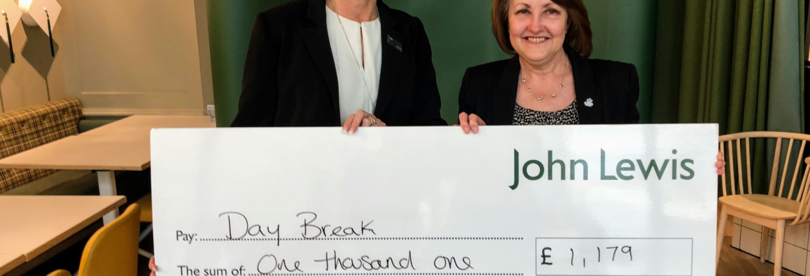 Daybreak receives donation from John Lewis Oxford store